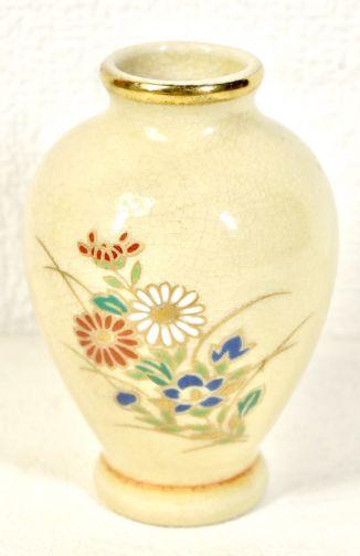 Showa Vintage Satsuma Ware Honkin Colored Picture Flower Crest Vase Single Flower Vase Small Vase Diameter 7cm Height 10cm Small Size Estate Sale KNA