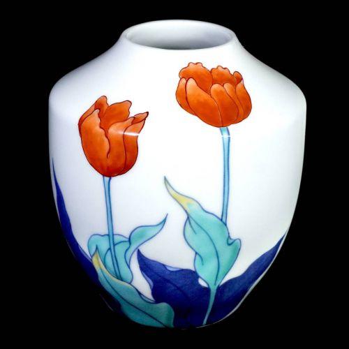 昭和ビンテージ鍋島焼今泉今右衛門白鍋島錦花紋花瓶高さ14cm三色で描いた花紋が美しい逸品!エステートセールWTS
