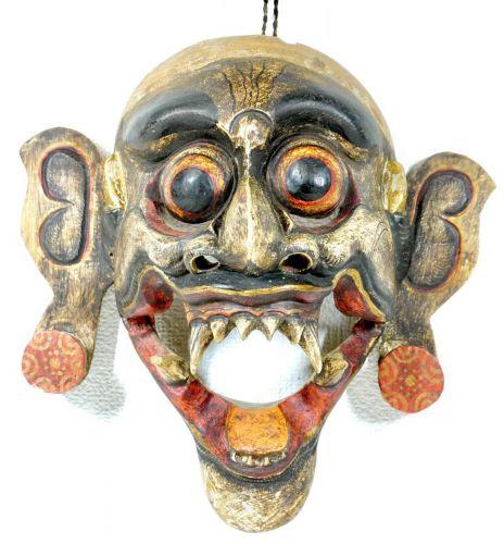 ビンテージインドネシアバリ島聖獣バロン木製彫刻壁掛け仮面バリ島に伝わる魔除、守護神高さ28cmエステートセールIJS