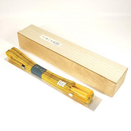 昭和ビンテージ本場黄八丈帯締め正絹100%和装小物着物格子模様共箱未使用デットストックエステートセールATN