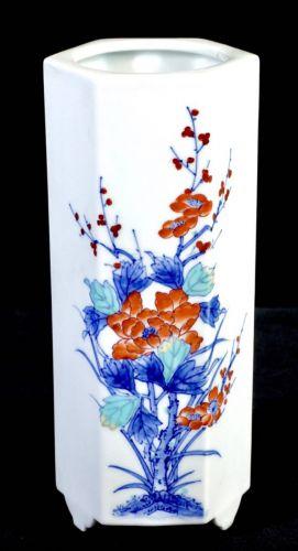昭和ビンテージ鍋島焼色鍋島大秀窯染錦牡丹梅紋六角花瓶高さ20cm!鍋島様式の絵付けが美しい花器エステートセールKNA