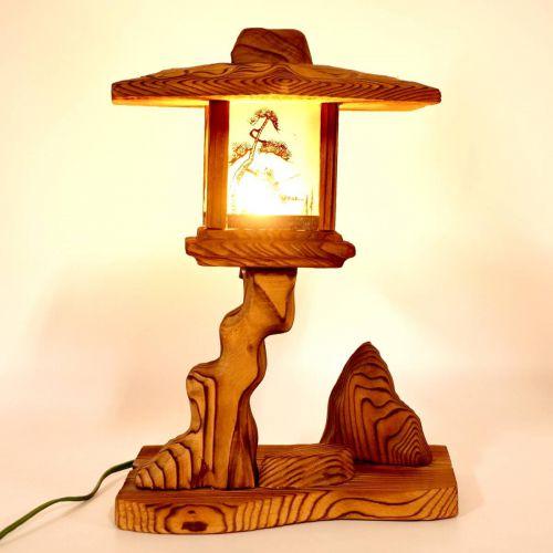昭和ビンテージ木製灯篭伊勢志摩置き型電気燈篭高さ28cm昭和レトロな雰囲気を醸し出すエステートセールKAK