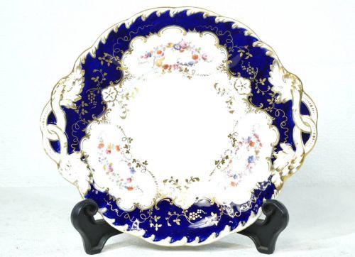 1900年代初頭英国アンティークイギリス製ミントン窯本金彩コバルト小花散紋装飾飾り皿デコレーションプレートエステートセールFAB
