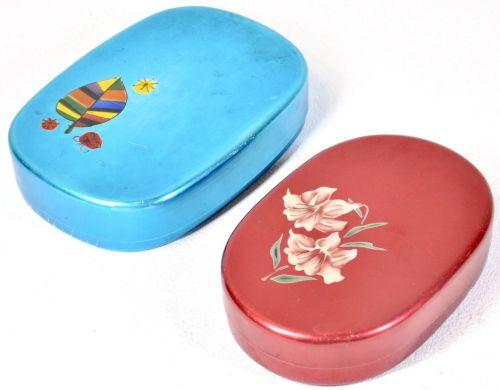Showa Retro Aluminum Lunch Box 2 Piece Set Lunch Box The pop color is wonderful! Estate Sale MSK