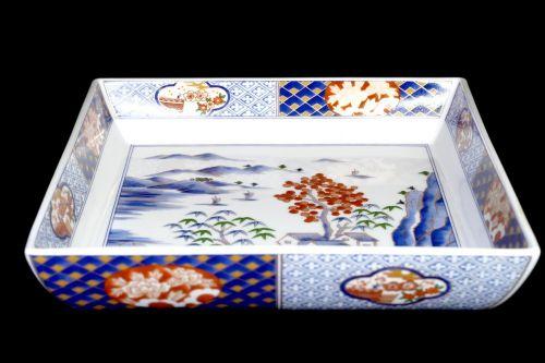 Showa Vintage Imari Ware Daigo Kiln Color Picture Tower Sansui Crest Square Bowl Diameter 25 cm! Estate Sale NMN