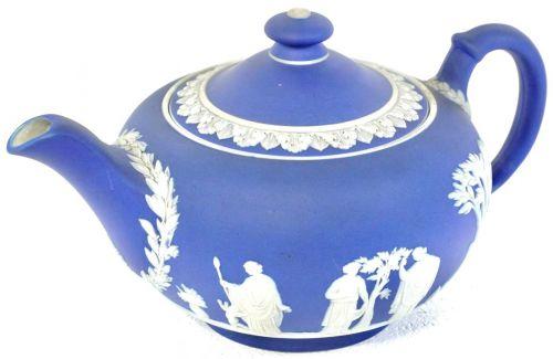 Vintage British Wedgwood Jasper Party Pot Cobalt Blue Width 20cm Height 11cm Estate Sale HKT