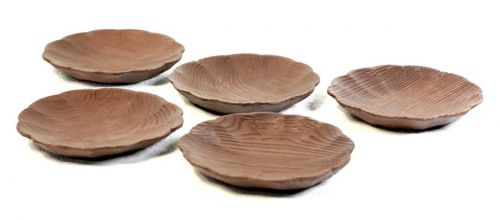 Showa Vintage Book Wooden Small Plates 5 Customers Assortment Plates Diameter 9 cm Withered taste, beautiful grain! Estate Sale HKT